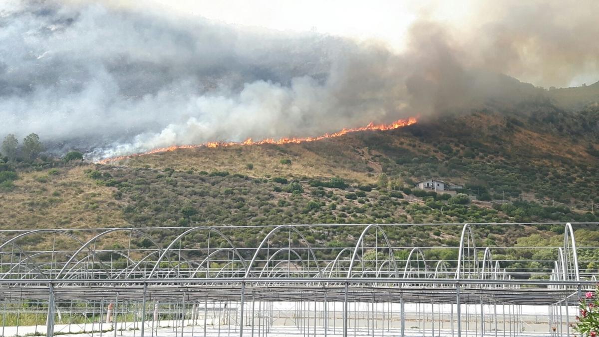 L'incendio in corso a Barchi